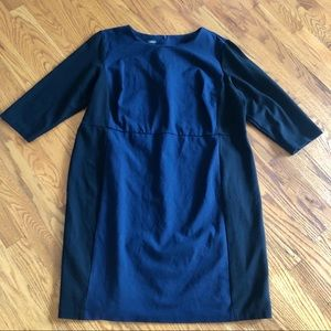 Talbots blue black 3/4 sleeve knit business Dress